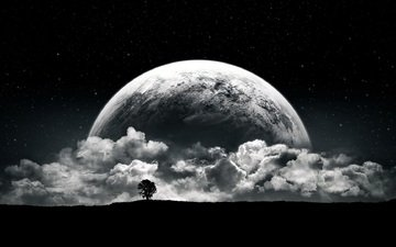 clouds, night, tree, planet, fantasy