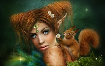 girl, look, hair, face, protein, tattoo, elf, fantasy girl