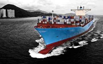 water, sea, the ship, tank, a container ship, maersk, edith