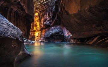 вода, скалы, каньон, вашингтон, сша, ущелье, юта
