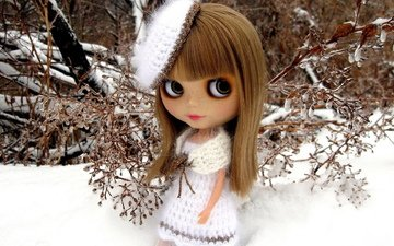 eyes, snow, winter, large, freckles, doll, 3d