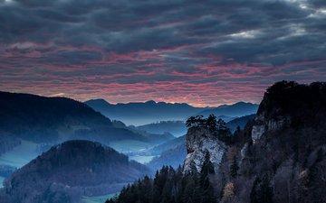 вечер, горы, пейзаж, туман, силуэты