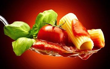 зелень, макро, помидор, ложка, соус, макароны, макарон, помидорами