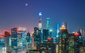 небо, ночь, огни, горизонт, луна, шанхай, китай, shanghai tower, shanghai world financial center, oriental pearl tower