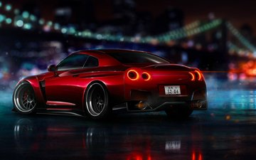 the city, red, nfs, 2015, nissan gt-r r35