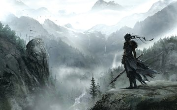mountains, weapons, fantasy, ninja, hellblade, video games, fatp