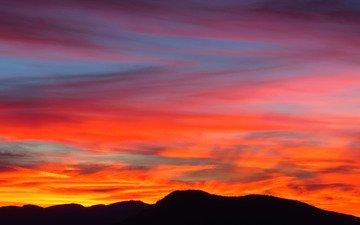 небо, горы, закат, силуэты