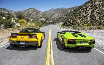 road, race, lamborghini, aventador, lp700-4, z06, corvette