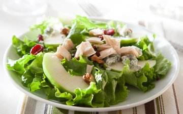 зелень, орехи, яблоко, овощи, мясо, гайки, эппл, грин, зеленый салат