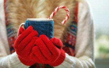 зима, кружка, руки, водопой, кубок, какао, варежки