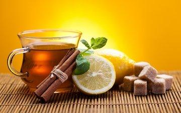 корица, лимон, чашка, чай, сахар, палочки, циновка