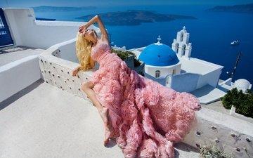 стиль, настроение, платье, поза, модель, церковь, греция, санторини, oia, ия, эгейское море, санторин, aegean sea
