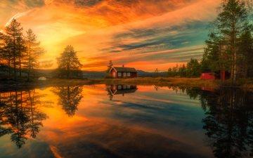 деревья, озеро, закат, отражение, дома, норвегия, норвегии, рингерике