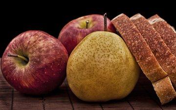 фрукты, булки, хлеб, яблоко, плоды, натюрморт, груши, pears, эппл, naturmort