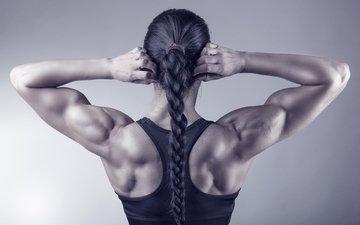 girl, pose, pigtail, bodybuilder, bodybuilding, olga belyakova