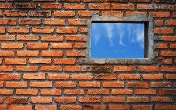 стена, окно, кирпичи