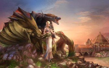 girl, monsters, fantasy, dragons