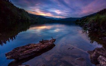 озеро, холмы, лес, силуэты, берега, вечером
