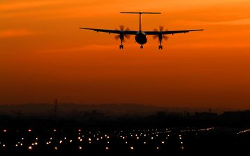 lights, the evening, the plane, silhouette