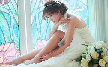 цветы, девушка, платье, волосы, лицо, окно
