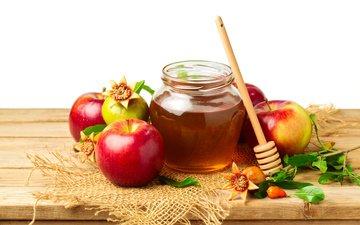 яблоки, листики, мед, яблок, гранат, веточки, листья, pomegranates