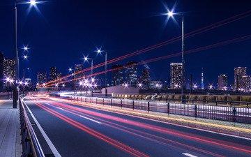 свет, ночь, огни, мост, город, япония, выдержка, токио