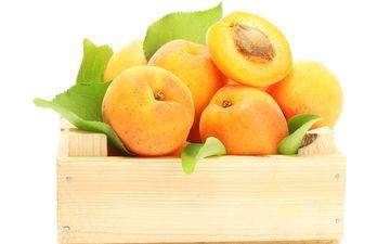 фрукты, ящик, абрикосы