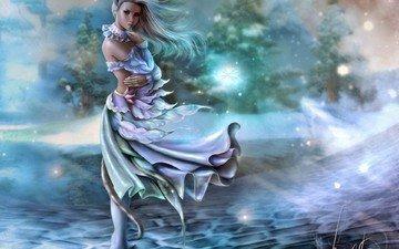 art, girl, fantasy, ears, the wind, tail