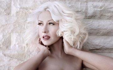 девушка, блондинка, взгляд, волосы, губы, певица, кристина агилера