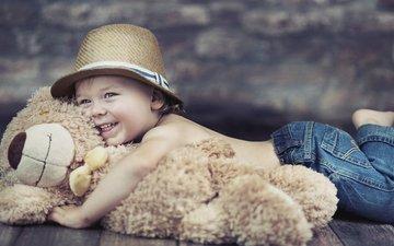игрушка, ребенок, игрушечная, детство, шляпа, ушанка, режим, плюшевый мишка, счастливый мальчик, плюшевый медведь, дитя