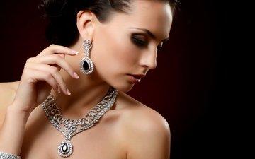 girl, brunette, model, earrings, necklace