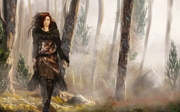 forest, clothing, woman, scar, trees, fall, skins