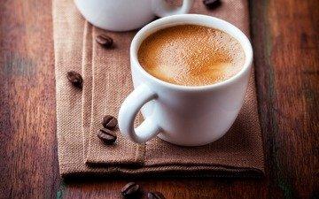кофе, чашка, кубок, зерна кофе, кофе в зернах