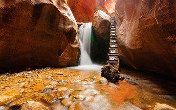 природа, камни, ручей, водопад, сша, штат юта, kanarra, графство утюг, каньоны