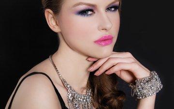 взгляд, модель, макияж, бижутерия, грим, ювелирные изделия, модел