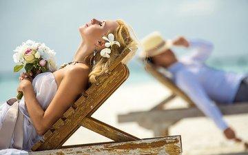 солнце, украшения, море, букет, жених, невесты, лежак, вс, сёрьги, невеста, groom, jewellery