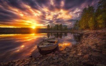 деревья, озеро, закат, лодка, норвегия, норвегии, рингерике