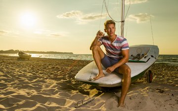shore, sea, sand, boat, model, male