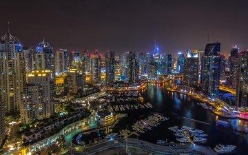 панорама, ночной город, дубаи, дубай, оаэ