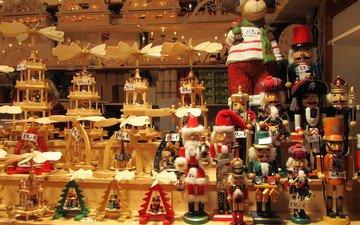 новый год, игрушки, санта клаус, ярмарка, карусели, щелкунчик