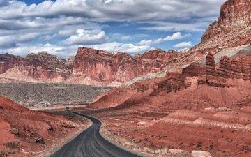 дорога, горы, пейзаж, capitol reef national park