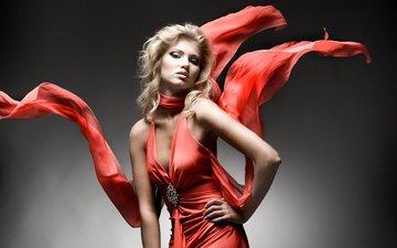 девушка, платье, блондинка, модель, краcный, мода, красное, в платье