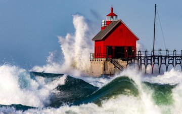 wave, lighthouse, pierce, squirt, house, usa, storm, lake michigan