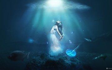 light, water, girl, fish, creative, jellyfish, desktopography
