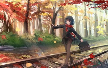 trees, rails, leaves, autumn, form, the way, schoolgirl