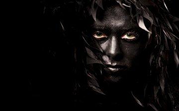 девушка, брюнетка, взгляд, черный, лицо, макияж, блака, брюнет, грим
