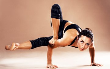 girl, pose, hands, yoga, position, advanced level, acrobat