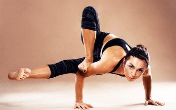 девушка, поза, руки, йога, позе, позиция, advanced level, акробатка