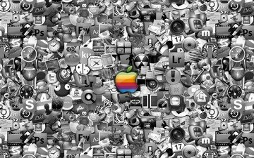 много, значки, логотипы, apple mac иконки