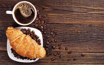 зерна, кофе, завтрак, выпечка, круасан, круассан